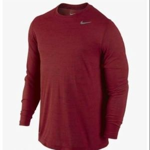 Nike Mens Dri-FIT Touch Long-Sleeve Shirt Gym Red